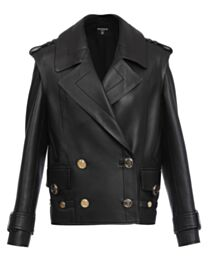 Balmain Women's Leather Pea Coat With Gold-Tone Buttons