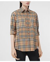 Burberry Women's Contrast Check Stretch Cotton Shirt Dark Coffee
