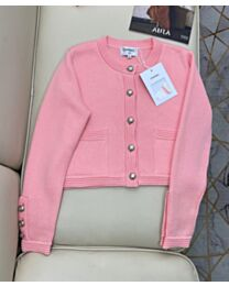 Chanel Women's Single-Breasted Knitted Cardigan Pink