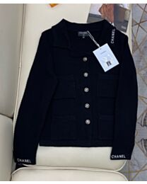 Chanel Women's Embroidered Logo Sweater Black
