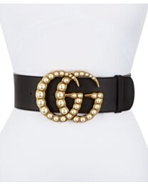 Gucci Women's Wide leather belt with pearl Double G Black