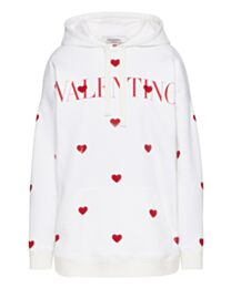 Valentino Women's Amore 2021 Embroidered Sequined Jersey Sweatshirt White