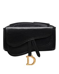 Christian Dior Saddle Belt In Black Lambskin Black