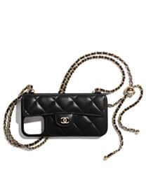 Chanel Classic Case For Iphone With Chain Black