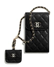 Chanel Phone & Airpods Case With Chain AP2033 Black