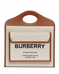 Burberry Medium Two-tone Canvas and Leather Pocket Bag Coffee
