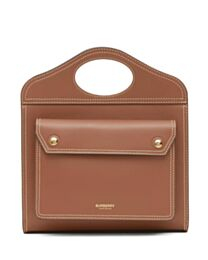 Burberry Mini Topstitch Detail Leather Pocket Bag Coffee