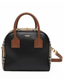 Burberry Small Leather and Vintage Check Cube Bag Black