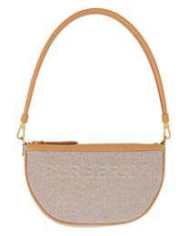 Burberry Embossed Logo Canvas and Leather Olympia Pouch Apricot
