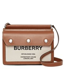 Burberry Mini Horseferry Print Title Bag with Pocket Detail Coffee