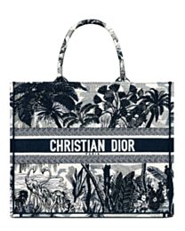 Christian Dior Blue Palm Tree Toile de Jouy Embroidery Dark Blue