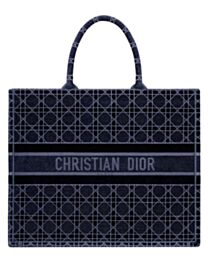 Christian Dior Cannage Embroidered Velvet Dior Book Tote Dark Blue