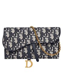 Christian Dior Saddle long wallet with flap S5614 Dark Blue