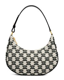 Celine Ava Bag In Textile With Triomphe Embroidery Black