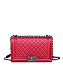 Chanel Lambskin Medium Boy Bag A67086 Red