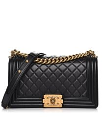 Chanel Black Lambskin Medium Boy Bag A67086 Black
