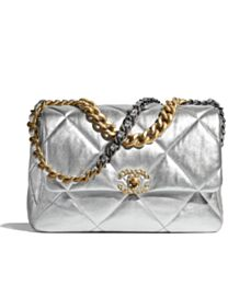 Chanel 19 Large Flap Bag AS1161 Silver