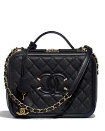 Chanel Beige Vanity Case Bag A93344 Black