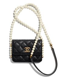 Chanel Flap Card Holder With Chain AP2185 Black