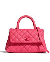 Chanel Flap Bag with Top Handle Peachblow