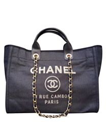 Chanel Large Deauville Canvas Tote Shopping Bag A66941 Dark Blue