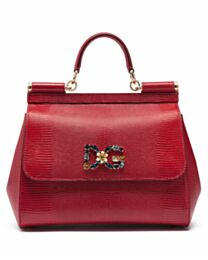 Dolce & Gabbana Sicily handbag With iguana-print and DG crystal logo patch