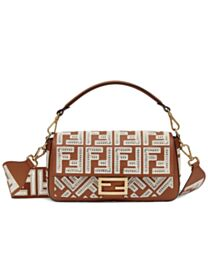 Fendi Baguette Leather Bag With FF Embroidery 8BR600 Coffee