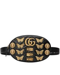 Gucci GG Marmont animal studs leather belt bag 491294 Black