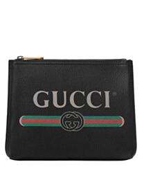 Gucci Print leather small portfolio 495665 Black