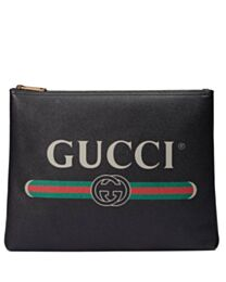 Gucci Print leather medium portfolio 500981 Black