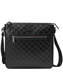 Gucci Signature Leather Messenger 406408 Black
