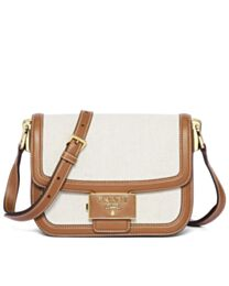 Prada Embleme Bag In Linen Blend And Leather 1BD257S Coffee