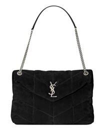 Saint Laurent Loulou Puffer Medium Bag In Quilted Suede And Lambskin