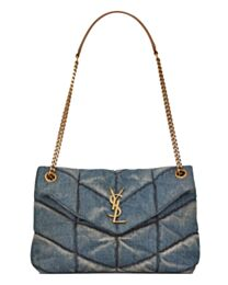 Saint Laurent Puffer Small Bag In Quilted Vintage Denim And Suede 577476 Blue