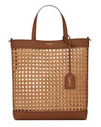 Saint Laurent N/S Toy Shopping Bag In Woven Cane And Leather Coffee