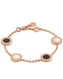 Bvlgari Rose Gold Bracelet Set With Mother-Of-Pearl And Onyx Elements 857192 Red