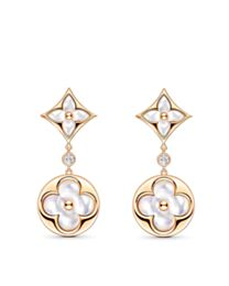 Louis Vuitton Color Blossom Long Earrings, Pink Gold, White Mother-Of-Pearl And Diamonds Golden