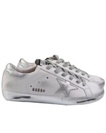 Golden goose deluxe brand Superstar distressed leather sneakers Silver