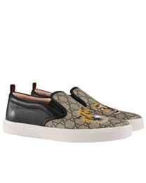 Gucci men's GG Supreme tiger slip-on sneaker Black