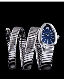 Bvlgari sliver tone stainless steel automatic watch Blue