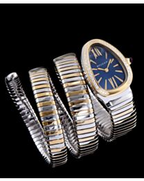 Bvlgari 18ct pink-gold, stainless steel and diamond watch Blue