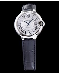 Cartier Ballon Bleu Automatic Silver Dial Stainless Steel Ladies Watch Black