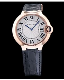 Cartier Ballon Bleu Automatic Silver Dial Golden Stainless Steel Ladies Watch Black