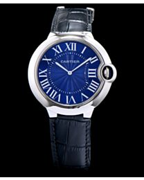 Cartier Ballon Bleu Automatic Silver Dial Sliver Stainless Steel Ladies Watch Black