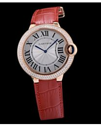 Cartier Ballon Bleu Automatic Rose Gold Diamond Steel Ladies Watch