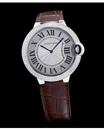 Cartier Ballon Bleu Automatic Sliver Diamond Steel Ladies Watch Light Coffee