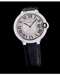 Cartier Ballon Bleu Automatic Sliver Diamond Steel Ladies Watch Black