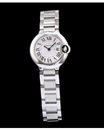 Cartier Ballon Bleu Silver Dial Stainless Steel Ladies Watch White