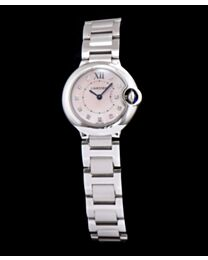 Cartier Ballon Bleu Silver Diamond Dial Ladies Watch Pink