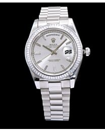 Rolex Men s Stainless Steel Watch With Diamond White